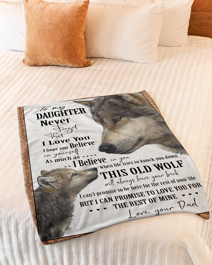 Wolf to my daughter never forget that i love you blanket - mytea