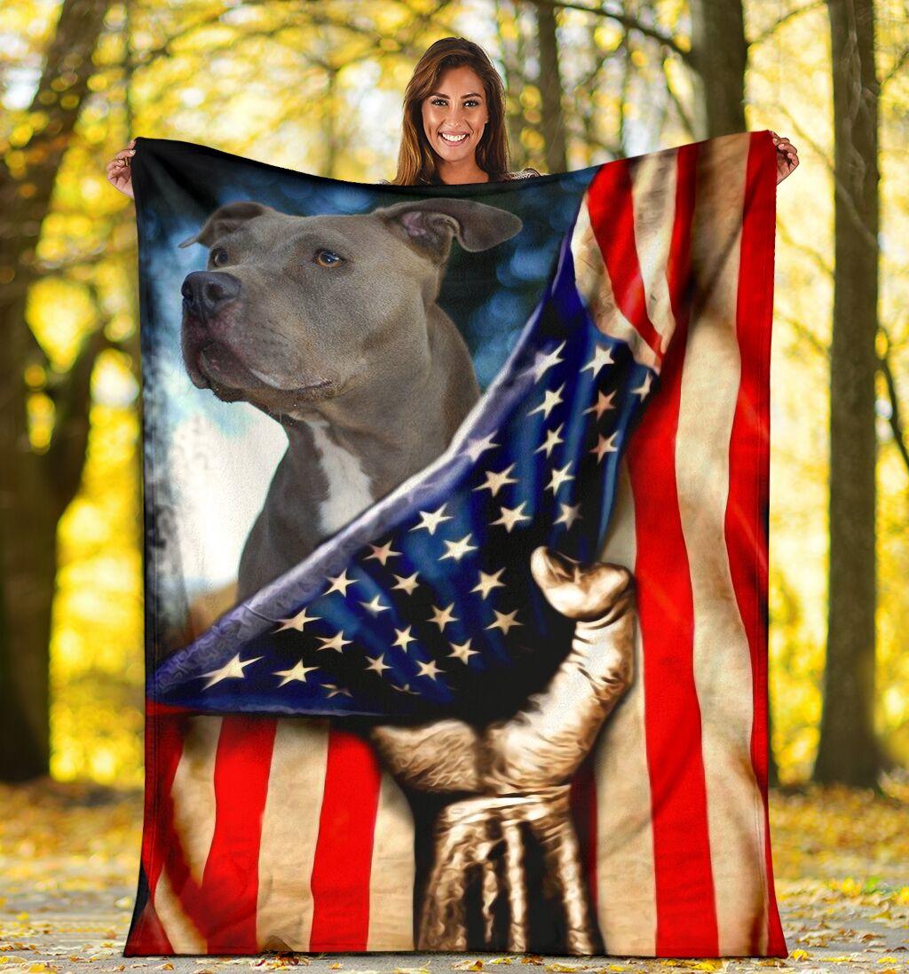 Pitbull Behind American Flag Blanket - SALE OFF 020119