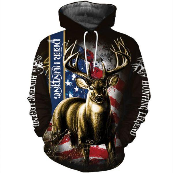 American flag hunting deer hunter all over print 3D hoodie, sweatshirt - maria
