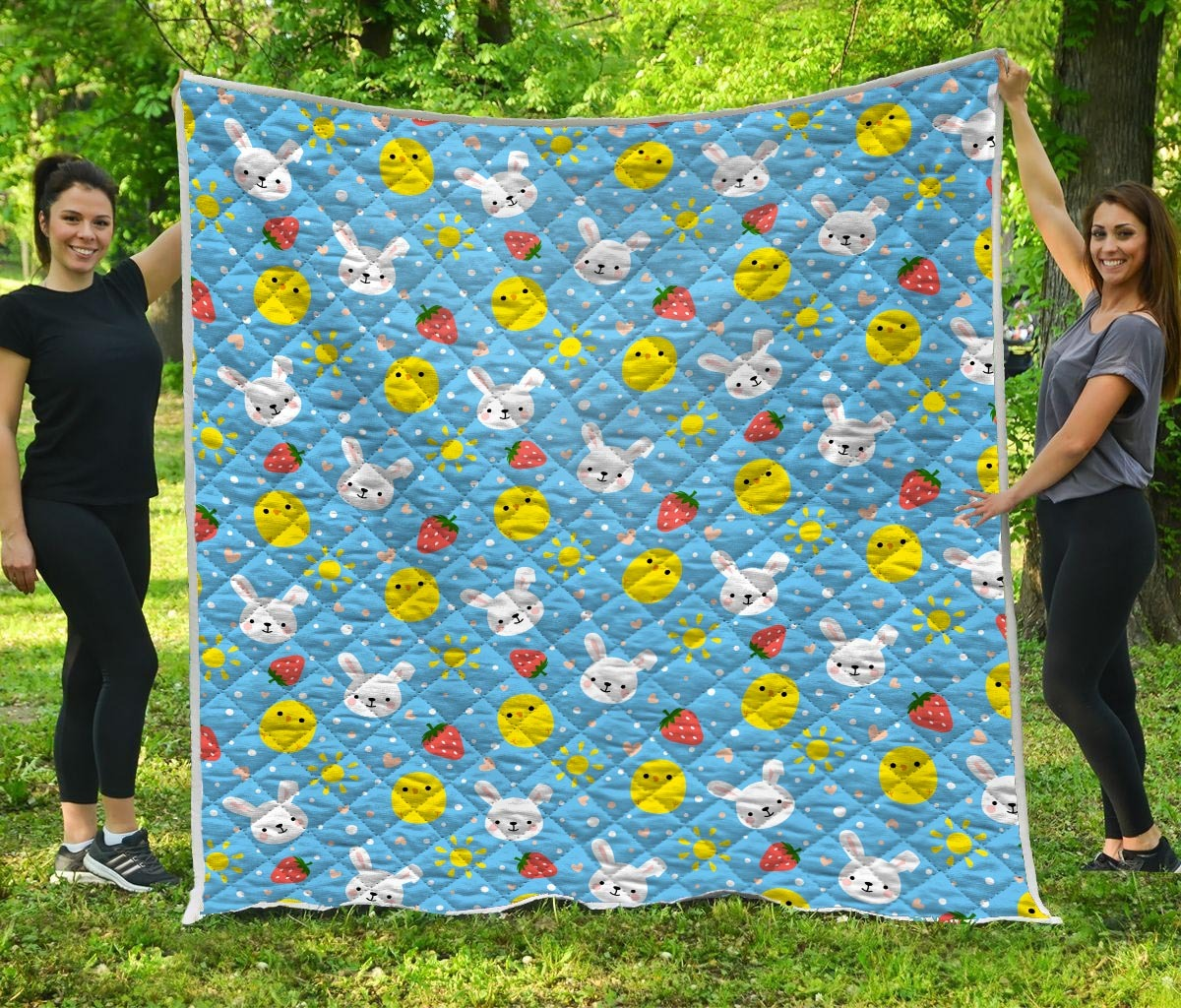 Baby chicken and bunny quilt - maria