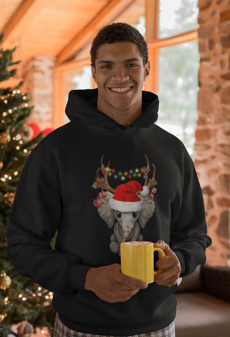 Pdn Elephant Reindeer Christmas Light Shirt Hoodie