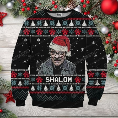 Friday night dinner jim shalom ugly christmas sweater - maria