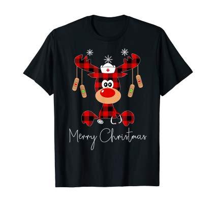 Funny Reindeer Merry Christmas Nurse shirt