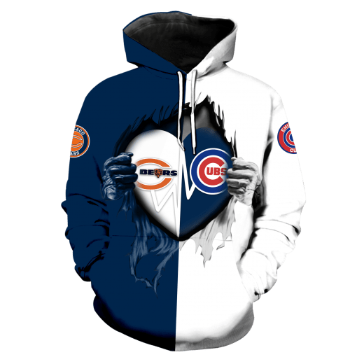 Chicago Bears Inside My Heart Chicago Cubs 3D All Over