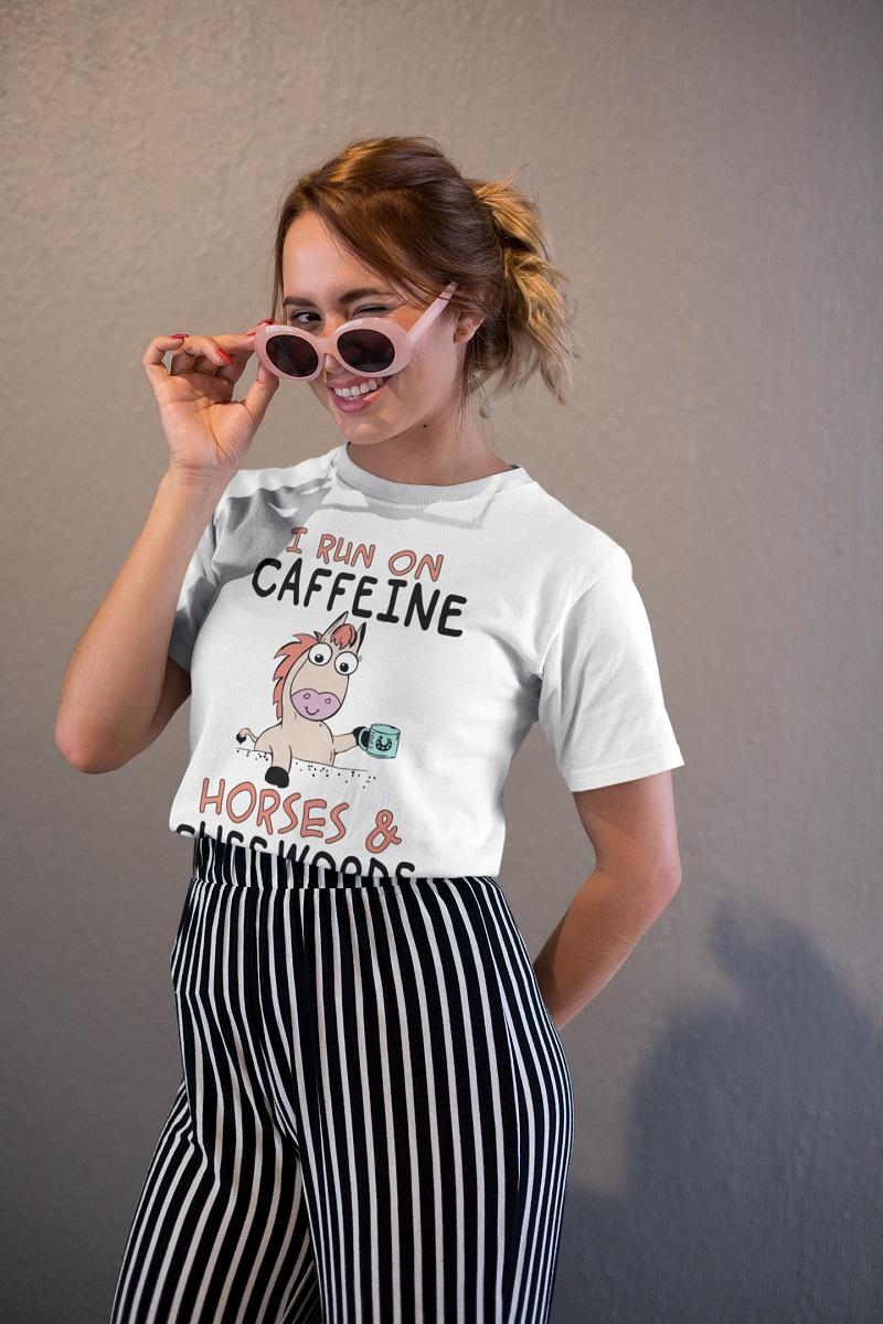 I run on caffeine horses and cuss words shirt, hoodie, tank top - pdn