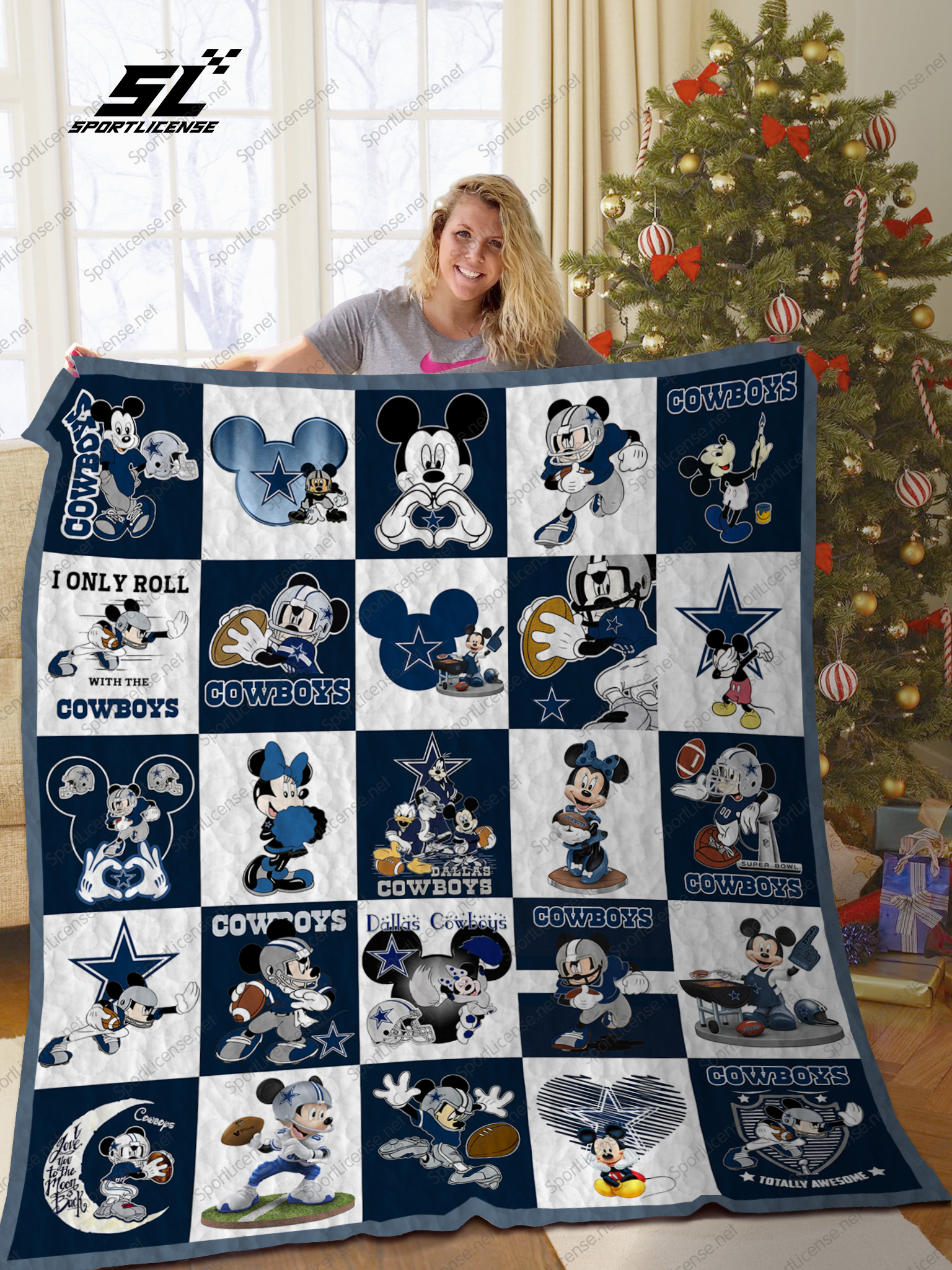 Mickey mouse dallas cowboys nfl quilt - maria