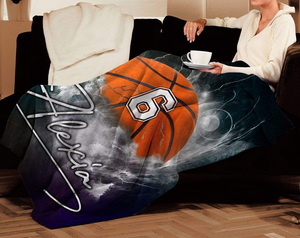 Personalized basketball thunder name and number blanket - maria