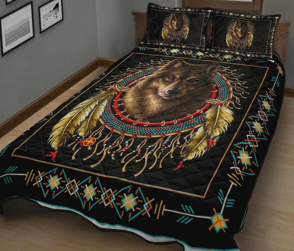 Wolf dreamcatcher native american quilt - maria