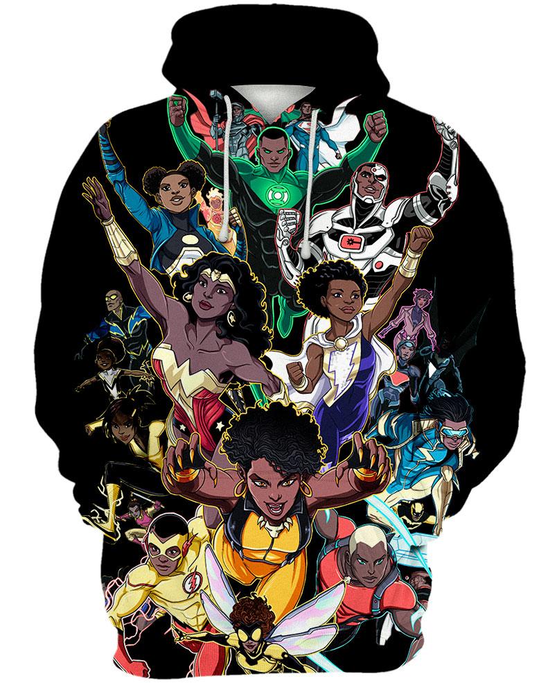 Black Women And Men Superheroes 3D All Over Printed Hoodie - mytea