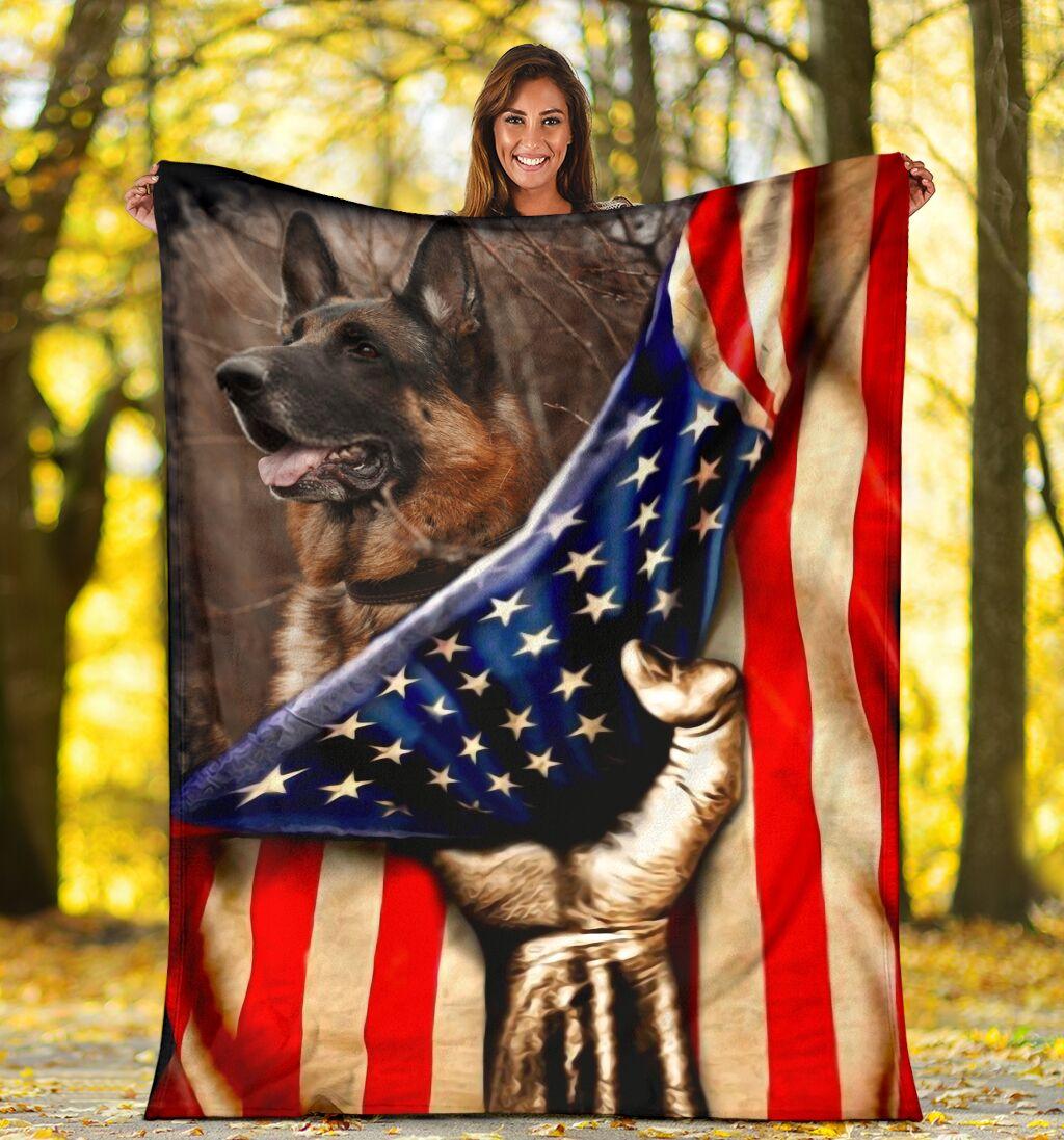 German Shepherd Behind American Flag Blanket - SALE OFF 020119