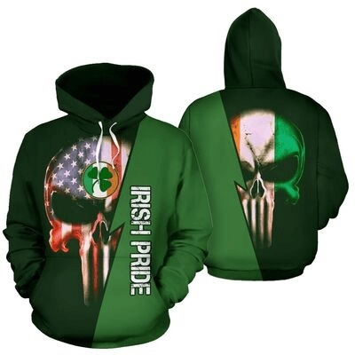 St patrick's day irish pride skull full printing shirt - maria