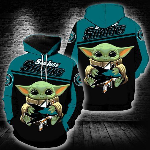 San Jose Sharks Baby Yoda Full All Over Print Hoodie and Zip Hoodie - Saleoff 2101207