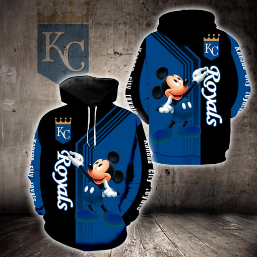 Kansas City Royals Mickey Mouse Full All Over Print T-shirt and Zip Hoodie - Saleoff 21012011