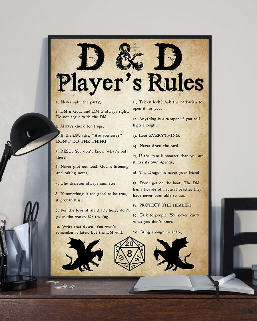 D and D player's rules poster 1