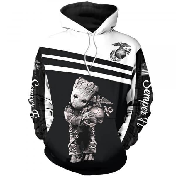 US Marine Corps Groot 3D Printed Hoodie, T-shirt, Zip Hoodie - Hothot 240220