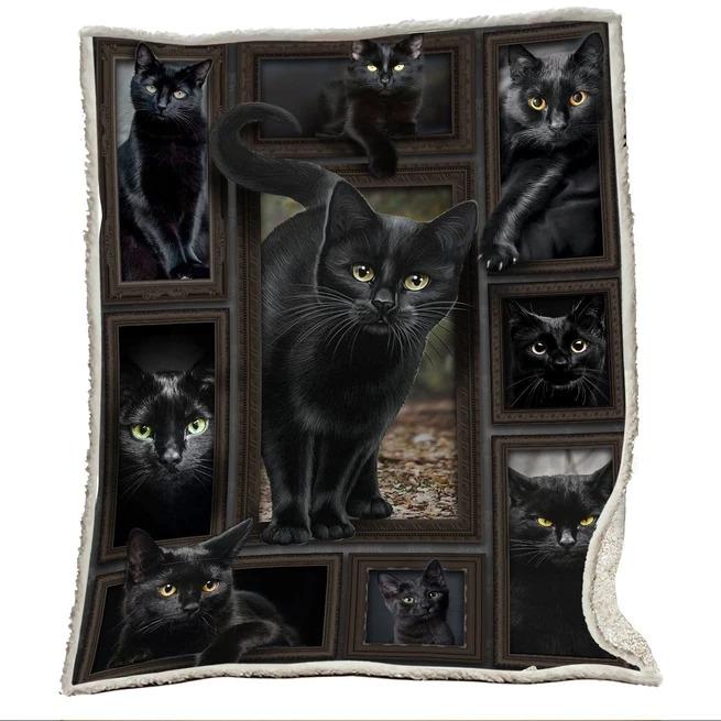 3D Huge Black Cat Blanket