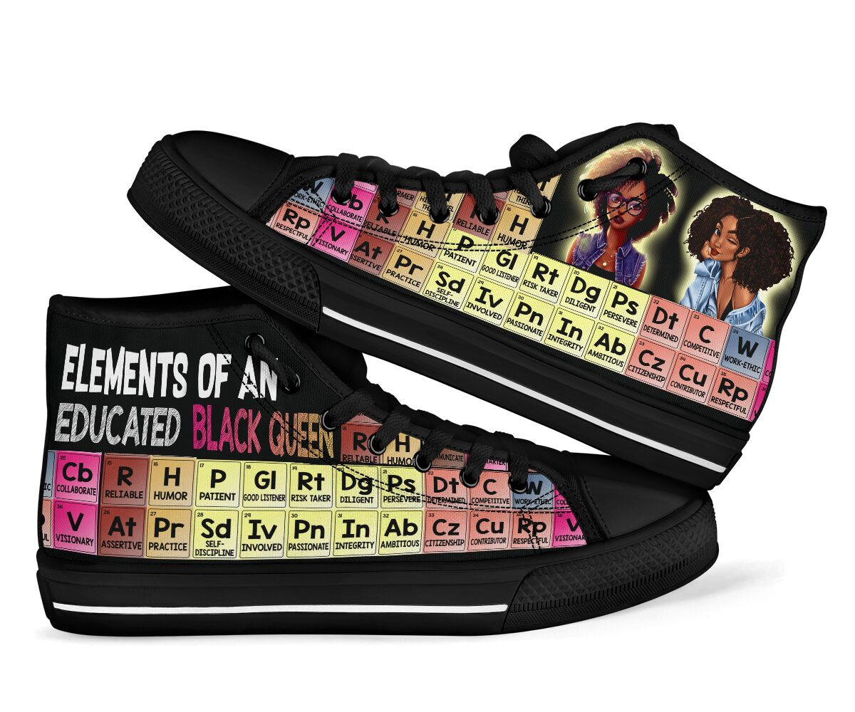 Elements Of An Educated Black Queen High Top Shoes - teasearch 080320