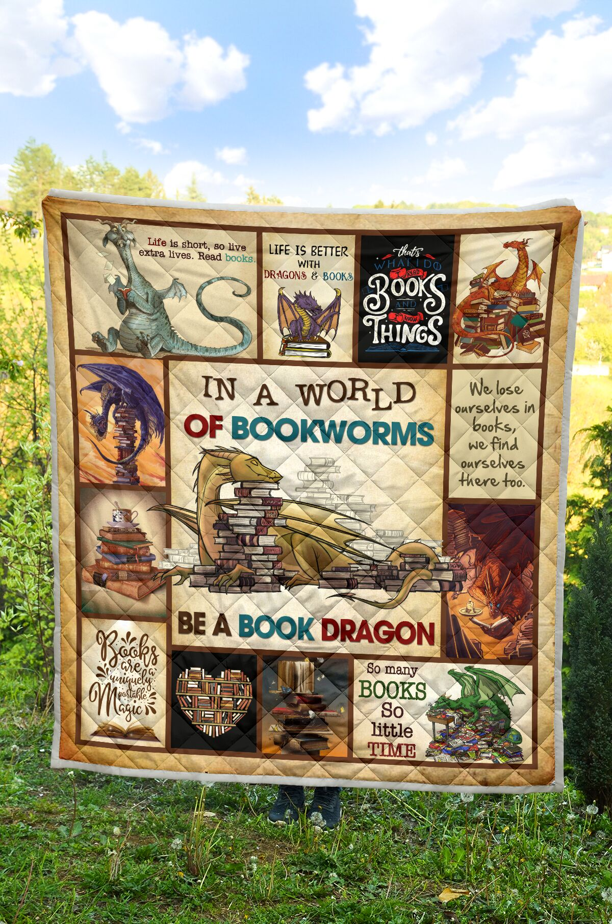In a world of bookworms be a book dragon full over printed quilt - maria
