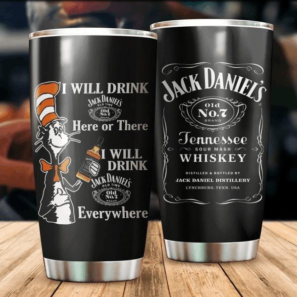 Jack Daniel's Cat Dr Seuss Steel Tumbler