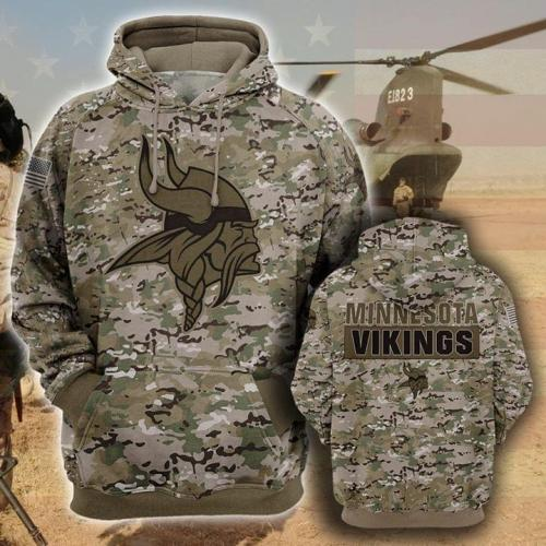 Minnesota vikings camo full printing shirt - maria