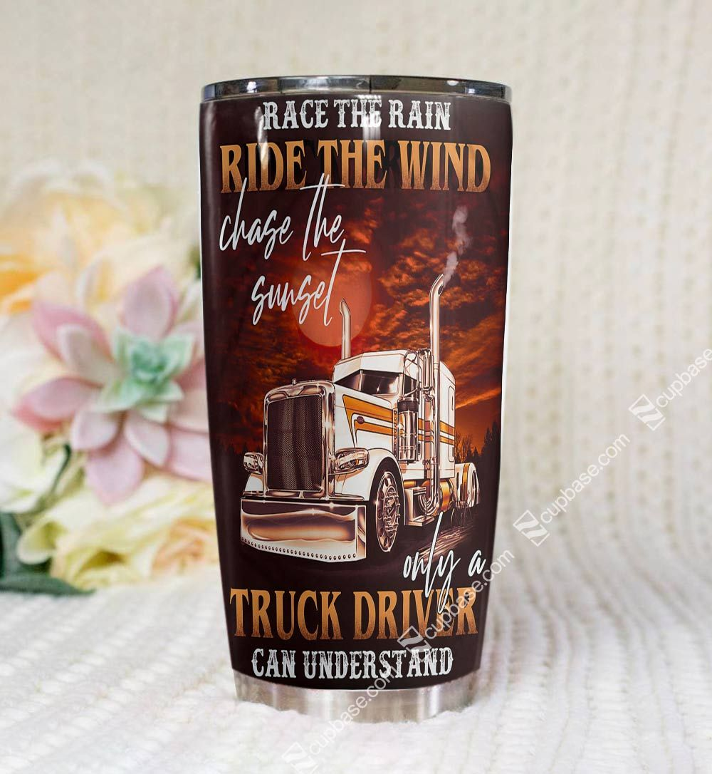 Personalized trucker ride the wind tumbler - maria
