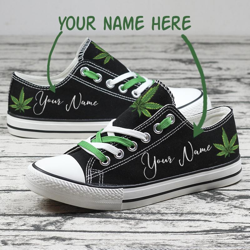 Weed Cannabis Custom Name Personalized Low Top Shoes