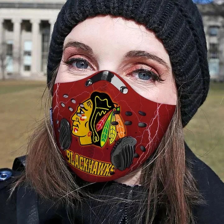 Chicago Blackhawks Filter Activated Carbon Pm 2.5 Fm Face Mask-3