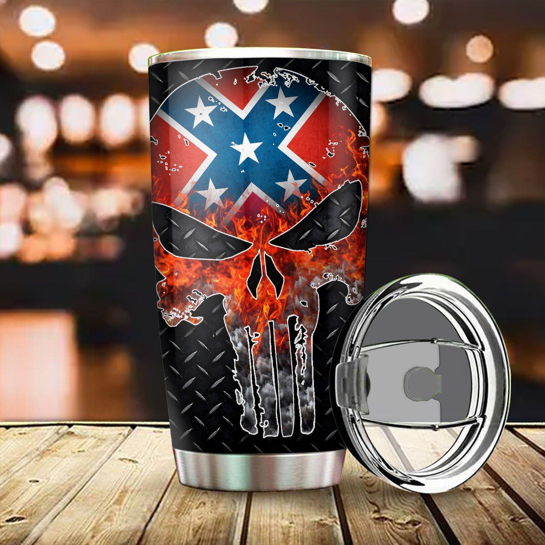 Confederate flag punisher skull tumbler