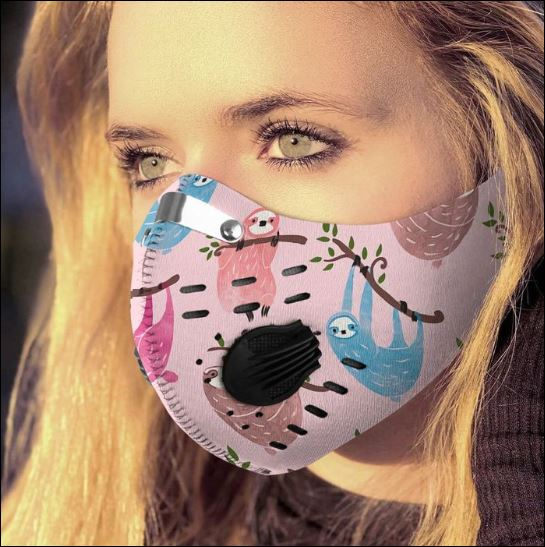 Cute sloth filter activated carbon Pm 2.5 Fm face mask