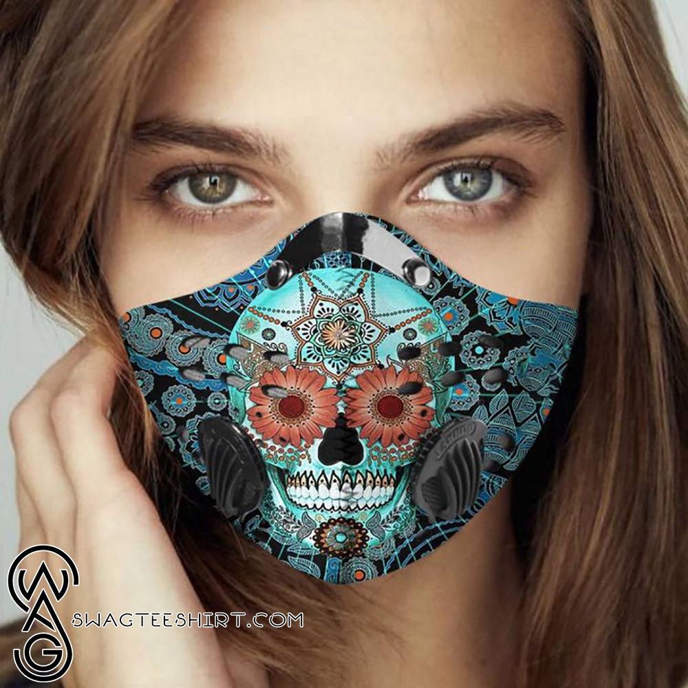Day Of The Dead Sugar Skull Filter Carbon Face Mask