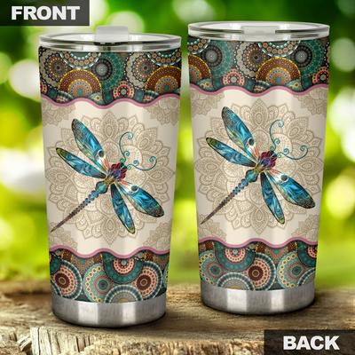 Dragonfly vintage mandala tumbler-2