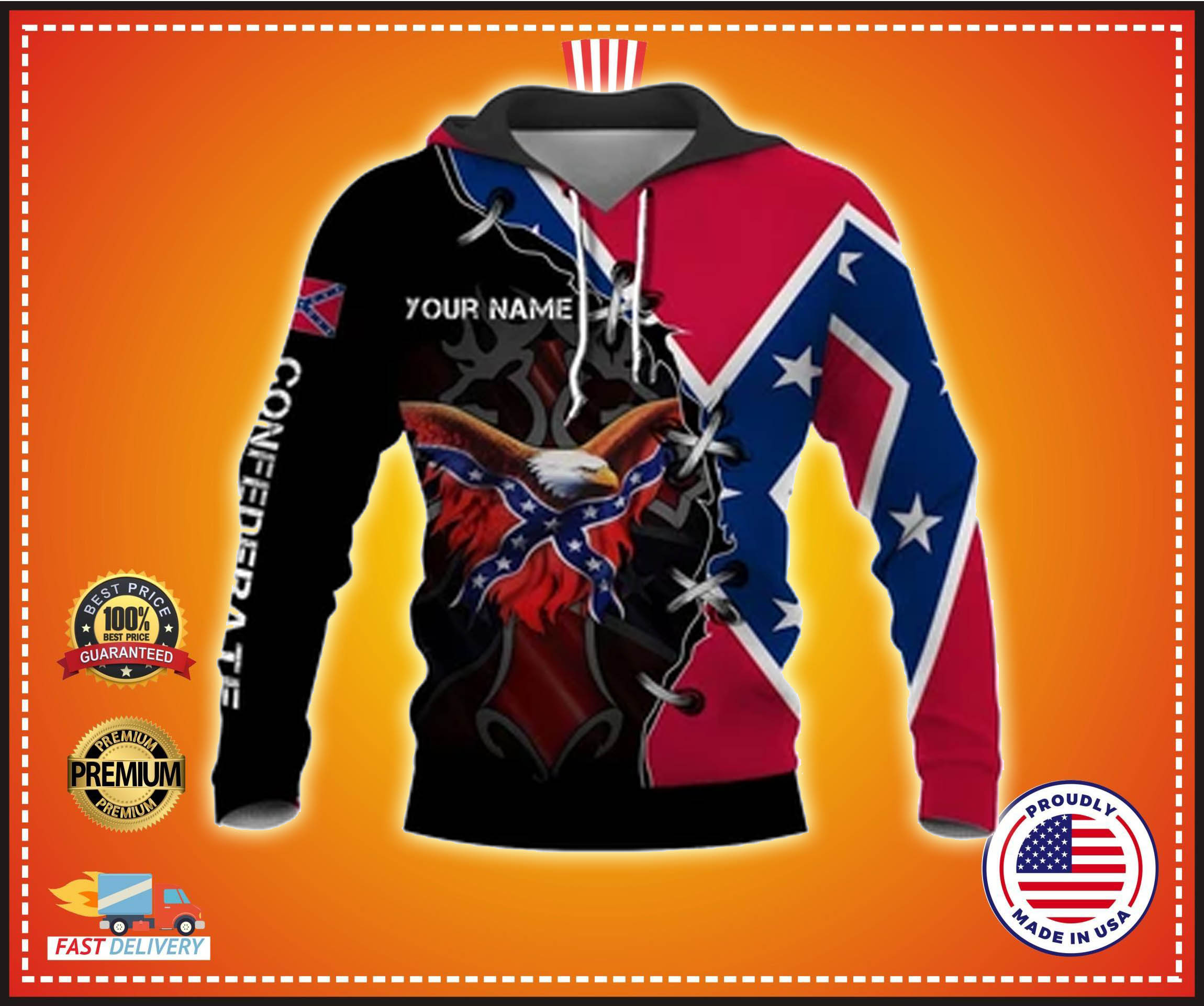 Eagle confederate flag custom name 3d hoodie - LIMITED EDITION