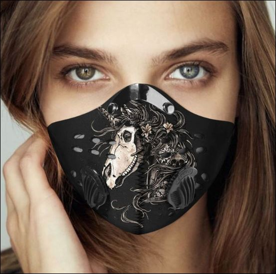 Floral skull unicorn filter activated carbon face mask