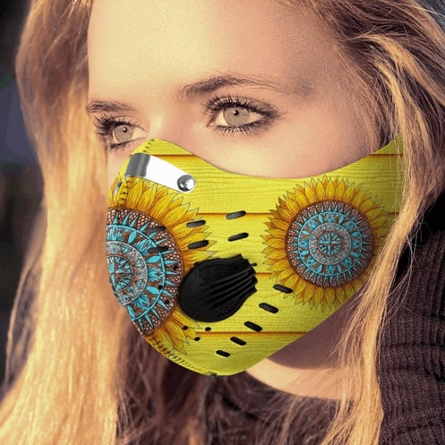 Hippie sunflower filter activated carbon pm 2.5 face mask - maria