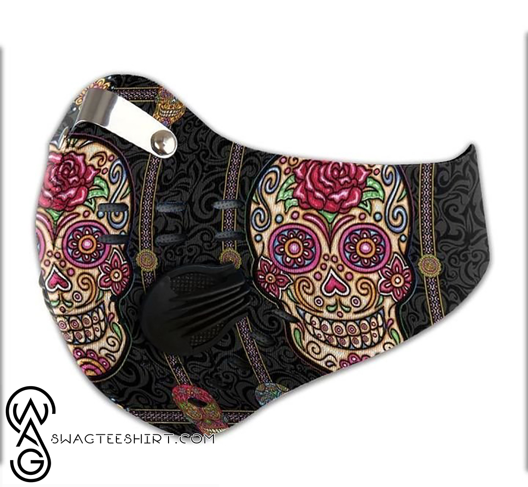 Sugar skull day of the dead filter carbon face mask - maria