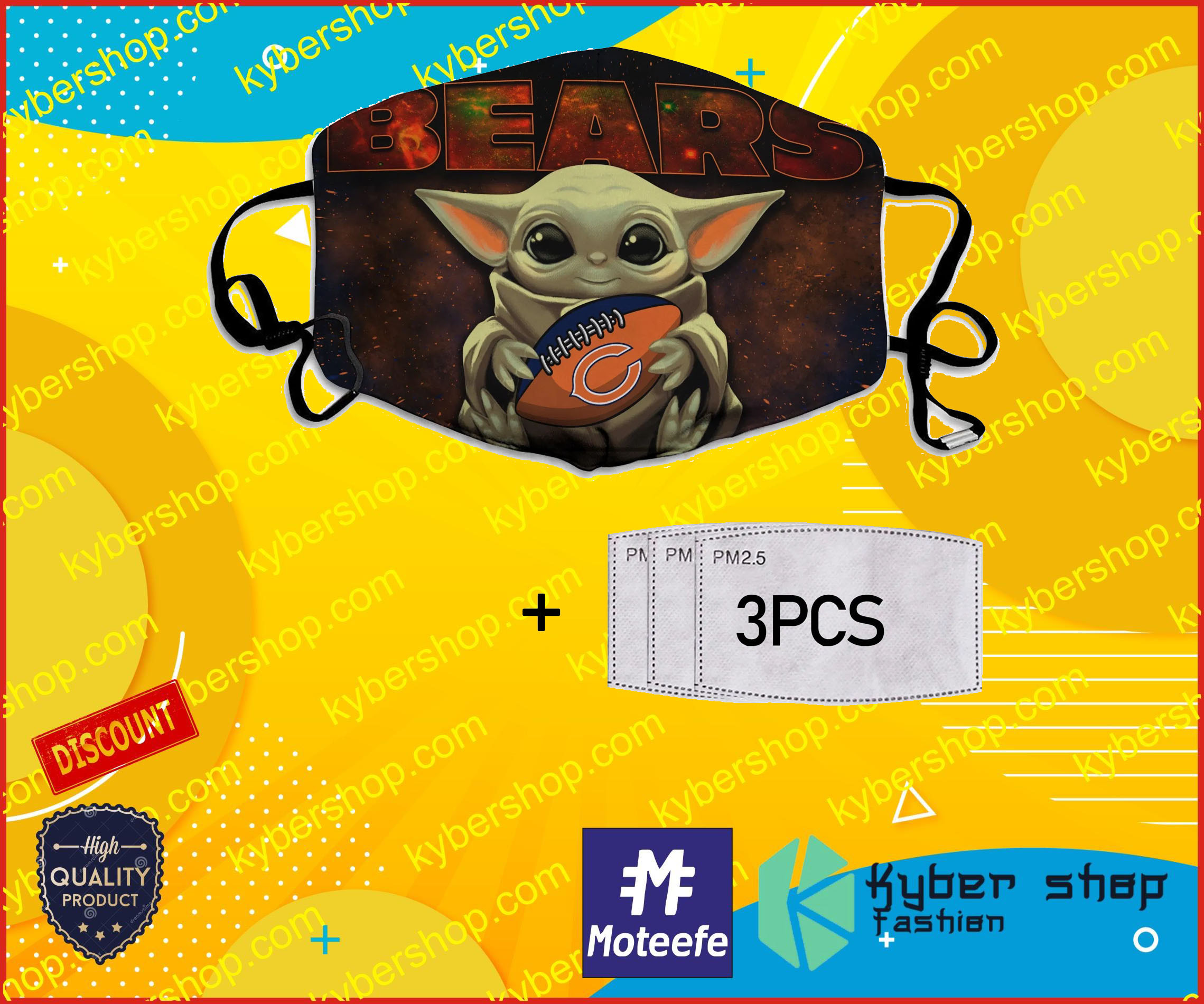 Baby Yoda Hugs Chicago Bears NFL Face Mask- LIMITED EDTION