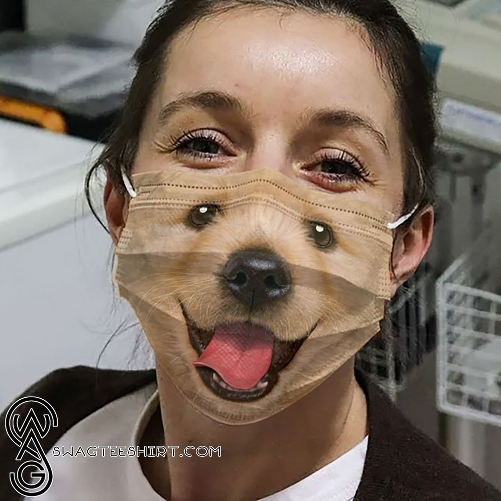 Happy Golden Retriever Face All Over Printed Face Mask