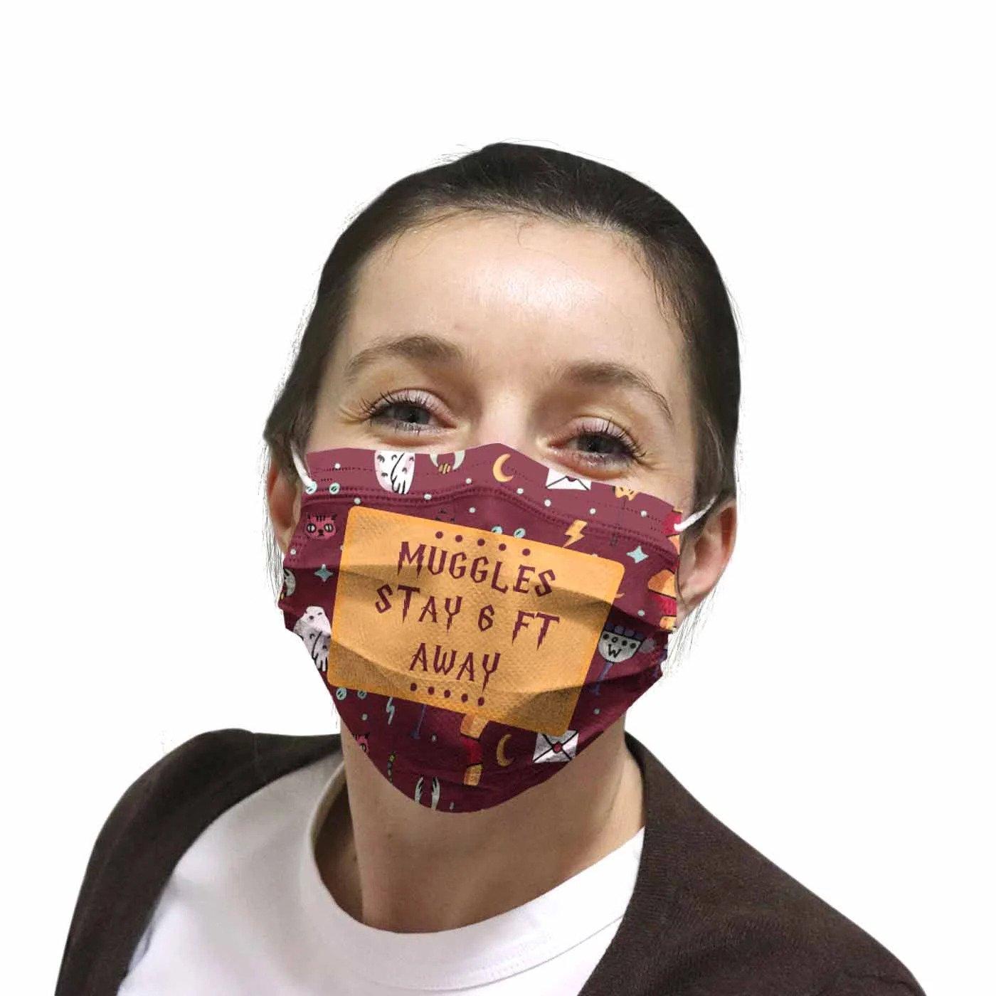 Harry Potter Muggle stay 6 feet away face mask