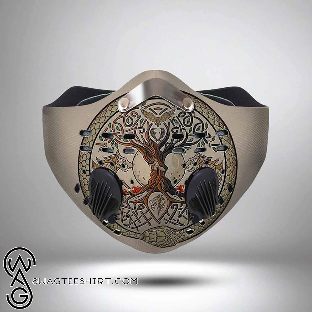 Viking Wolf And Tree Of Life Filter Carbon Face Mask