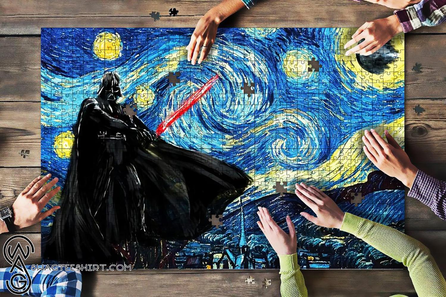 Vincent van gogh starry night darth vader star wars jigsaw puzzle - maria