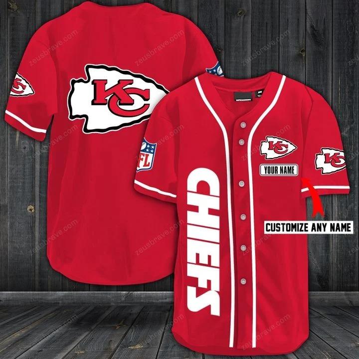 Customize name kansas city chiefs hawaiian shirt - red