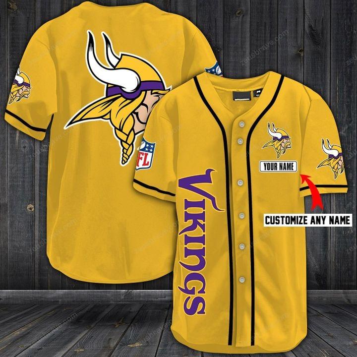 Customize name minnesota vikings hawaiian shirt - gold