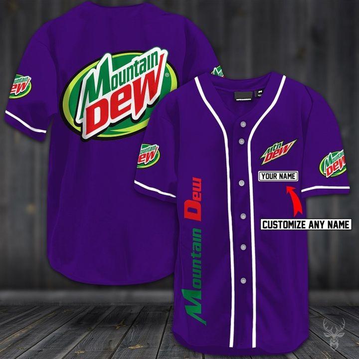 Customize name mountain dew hawaiian shirt - purple