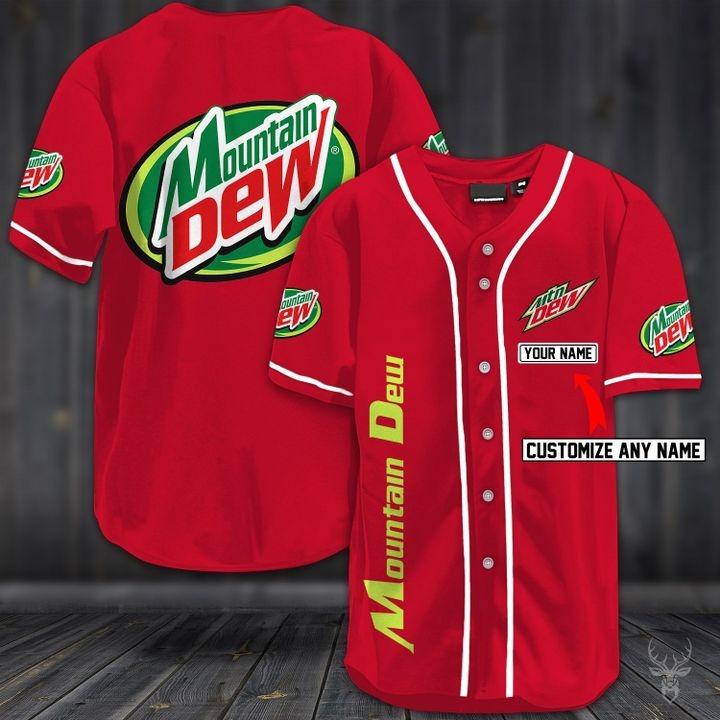 Customize name mountain dew hawaiian shirt - red