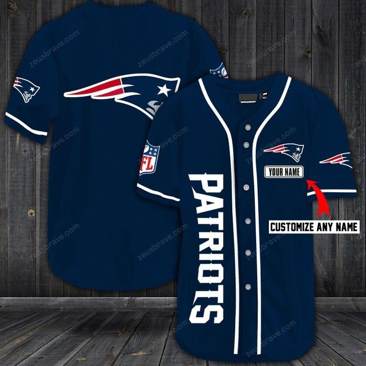 Customize name new england patriots hawaiian shirt - blue