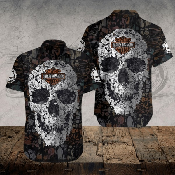 Harley-davidson motorcycle skull hawaiian shirt - Maria