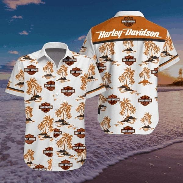 Harley-davidson motorcycle style hawaiian shirt - Maria