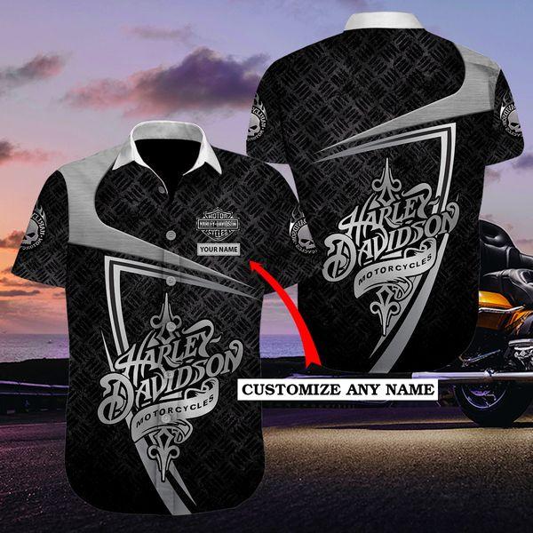 Personalized harley-davidson motorcycle hawaiian shirt - Maria