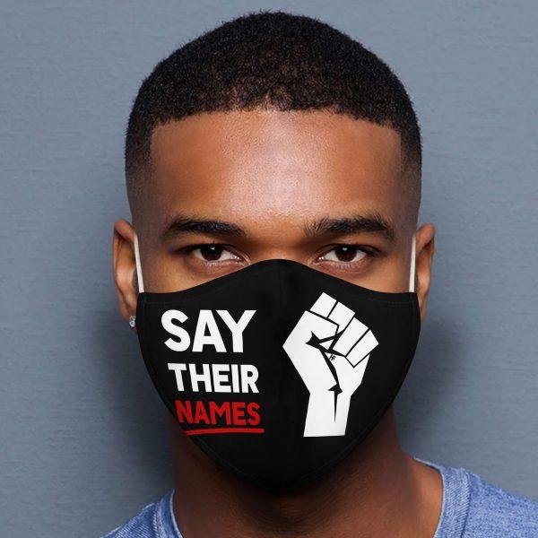 Say Their Names Black Lives Matter face mask