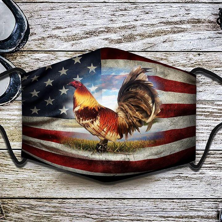 Chicken american flag cloth face mask